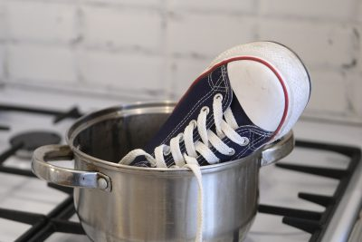 shoe in pot